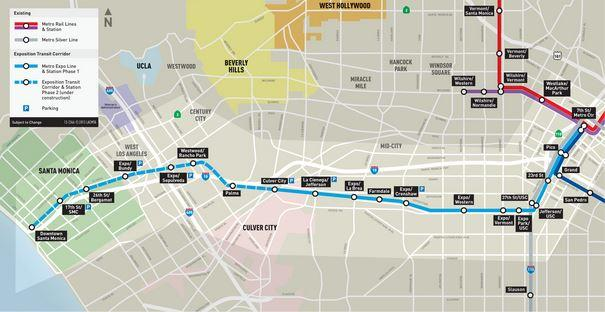 Map of the LA EXPO rail line