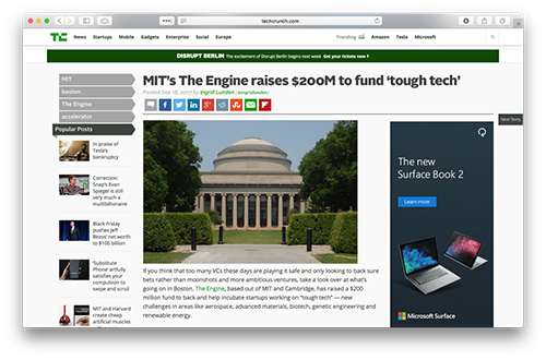 Screenshot of TechCrunch's article on MIT's Engine.xyz